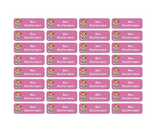 Sunnywall® Namensaufkleber Namen Sticker Aufkleber Sticker 4,8x1,6cm   60 Stück für Kinder Schule und Kindergarten 38 Hintergründe zur Auswahl (21 Schulmädchen)
