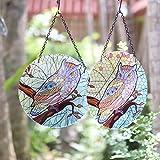 Liffy Cadeau Ensemble de 2 décorations à suspendre pour assiette en verre hibou pour décoration murale, décor de jardin, cadeaux de vacances et commémoratifs