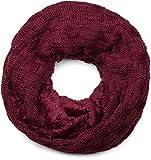 styleBREAKER warmer Feinstrick Loop Schal mit Flecht Muster und sehr weichem Fleece Innenfutter, Schlauchschal, Unisex 01018150, Farbe:Bordeaux-Rot-Violett