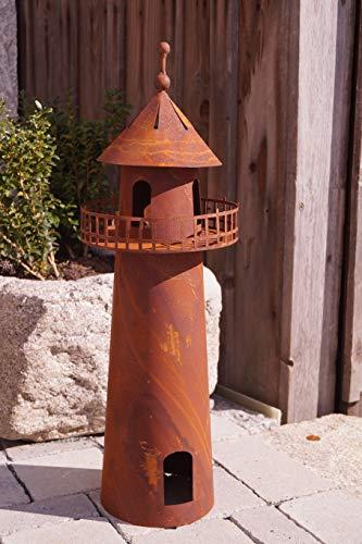 Rostalgie Edelrost Leuchtturm 3D Optik 60cm Windlicht Gartendekoration Stele Turm