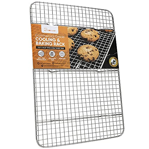 PriorityChef Cooling Rack and Baking Rack, Fits Half Sheet Pan, 100% 304 Stainless Steel, Wire Baking Cookie Bacon Racks For Oven Use