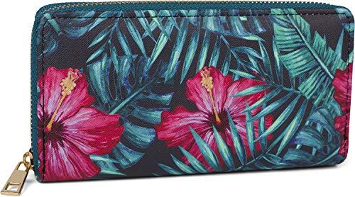 styleBREAKER Damen Geldbörse mit verschiedenen Sommerlichen Motiven, Reißverschluss, Portemonnaie 02040143, Farbe:Hibiskus - Petrol-Blau-Rot