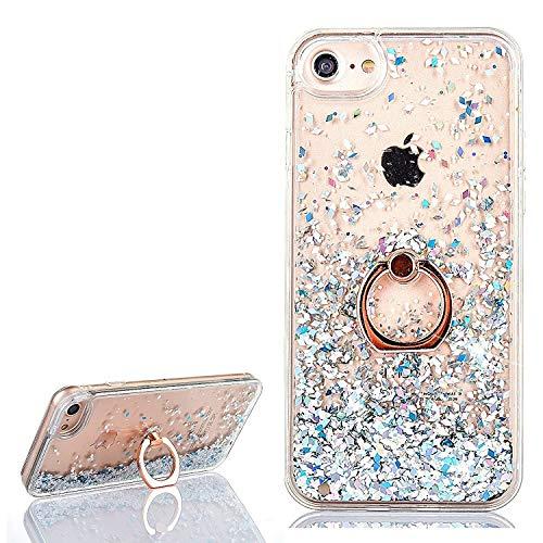 Yobby Coque iPhone 6 Plus,Coque iPhone 6S Plus Fine Glitter Sables Mouvants Bling Paillettes Etui avec Bague Doigt Anneau Mince Souple TPU Bumper + Dur Transparent Arrière House-Diamant Blanc