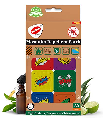 RUNBUGZ Mosquito Repellent Printed Boom Patches for Babies, 30 Patches