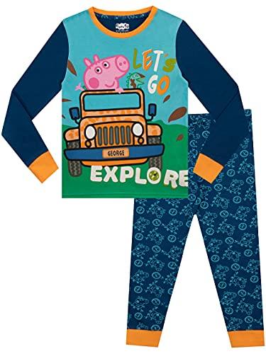 Peppa Pig Pijamas de Manga Larga para niños George Pig Ajuste Ceñido Azul 5 - 6 Años