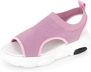 Naisidier Women Sports Sandals Breathable Knitting Fabric Flat Peep Toe Sandals Summer Open Toe Casual Shoes
