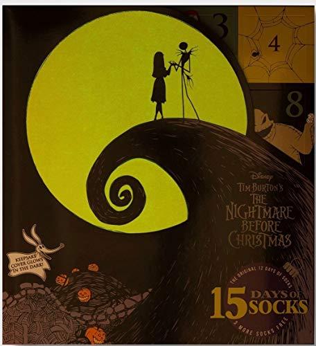 Nightmare Before Christmas 12 Days of Socks Advent Calendar Gift Set + Bonus 3 Socks (Womens)