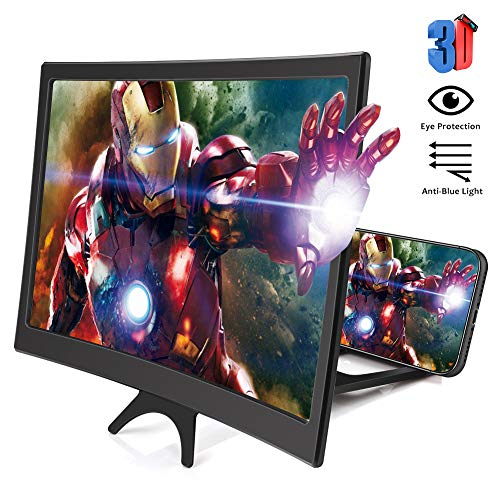 12'' Phone Screen Magnifier, 3D Curve Phone Magnifier Projector Screen for Movies Videos Gaming, Foldable Cell Phone Stand with HD Screen Amplifier Compatible with iPhone 11 All Smartphone