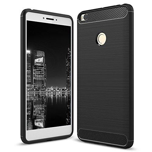 Funda Antideslizante Para Xiaomi Mi Max 2 | Negro Caucho Suave Elegante y Sin