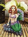 Ebros Gift Brigid Ashwood Fantasy Art Colorful Pastel Nautical Siren Mermaid Ocean Celtic Stone Holding Pink Rose Statue 6' Tall Sea Beach Princess Mermaids Decorative Accent Resin Figurine