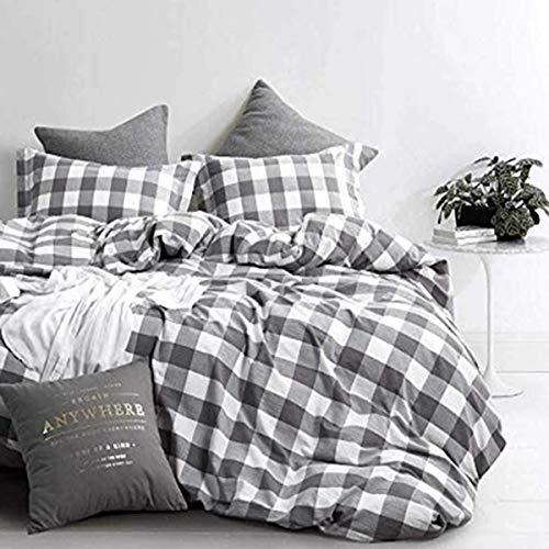 CoutureBridal Bettwäsche 155x220cm Grau Weiß Kariert Geometrisch Mikrofaser Bettwäsche Set - Bettbezug 155x220 und Kissenbezug 80x80cm
