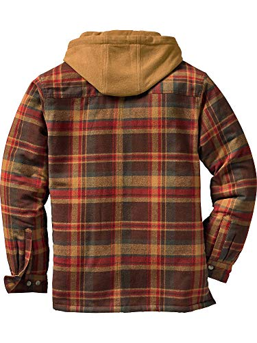 Legendary Whitetails Men's Maplewood Hooded Shirt Jacket (X-Large Tall, Maplewood Brown Plaid)