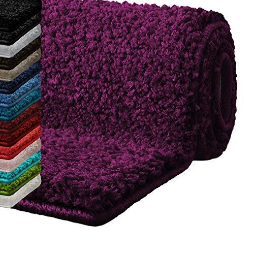 casa pura Badematte Hochflor Sky Soft | Weicher, Flauschiger Badezimmerteppich in Shaggy-Optik | Badvorleger rutschfest waschbar | schadstoffgeprüft | 16 Farben in 6 Größen (60x50 cm, Bordeaux)