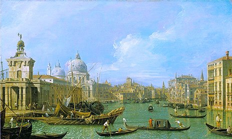 Canaletto (The Mouth of the Grand Canal Looking West towards the Carita, c.1729/30) Canvas Art Print Reproduction (12x20.1 in) (31x51 cm)
