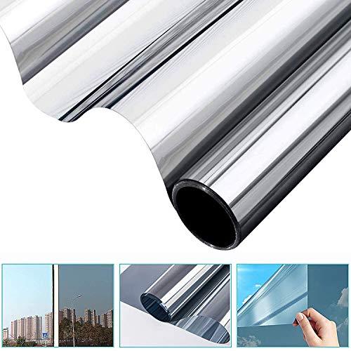 All--In Spiegelfolie Selbstklebend Sonnenschutzfolie Sichtschutzfolie Verdunklungsfolie Fensterfolie für Fenster Sichtschutz Spiegel Folie Wärmeisolierung Tönungsfolie UV-Schutz Silber 90 x 200cm