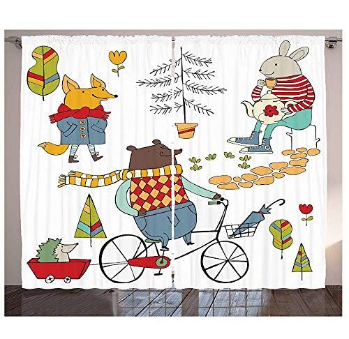 Muxiand Dierenkeukengordijnen dragen op een fietsvos, in regenjas en haas, met theepot van Urban Forest, personaliseerbaar