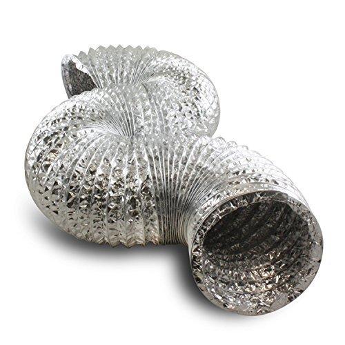 Hon&Guan Manguera Flexible de Ventilación de Aluminio Tubo Extracción para Baño, Kitchen, Hidroponía (ø150mm*2m)