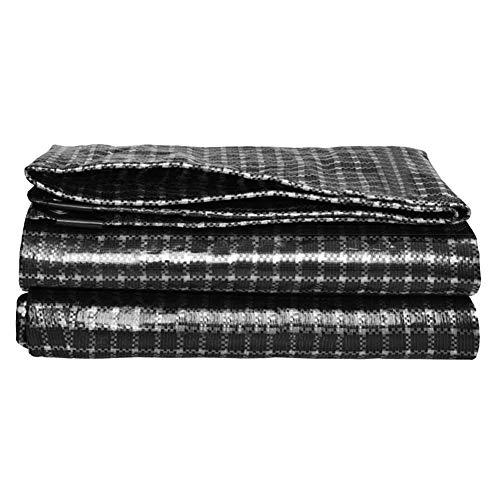 Tarpaulin-CZY Afdekzeil voor buiten, waterdicht, zonwering, winddicht, stofdicht, bescherming voor de privacy, groot formaat 7.7mx11.7m zwart-wit-raster