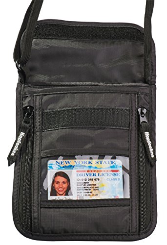 Hopsooken Borsello da Viaggio Borsello Portadocumenti da Collo con Custodie Protettive RFID per Carte di Credito e Passaporto