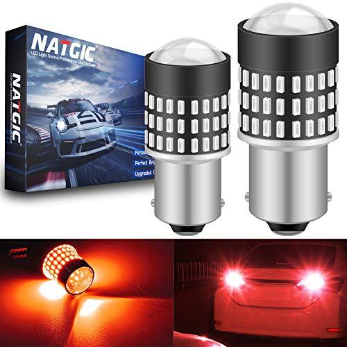 NATGIC 1156 BA15S 7506 Bombillas LED 1800LM 3014SMD 78-EX Chipsets con proyector de Lentes para Luces traseras de Respaldo con Marcador de Lado de Freno de Cola, Rojo, 12-24 V (2-Pack)