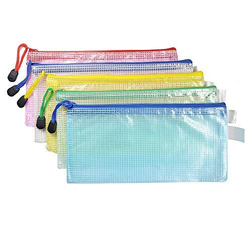 5 Stück B6 Dokumententasche mit Reißverschluss Mesh Kunststoff Reißverschlusstasche Reißverschlussordner Sammelmappe für Akten Kosmetika Rechnungen (B6*5)