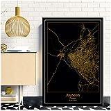 HJZBJZAsuncion Paraguay Schwarz & Gold Stadt Weltkarte