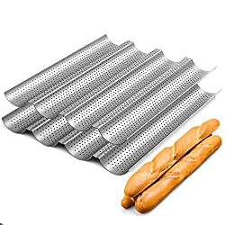 top rated Non-stick coating for baking French bread 15 x 13″ perforated baguette jars 2 packs 4 waves to bake bread… 2021