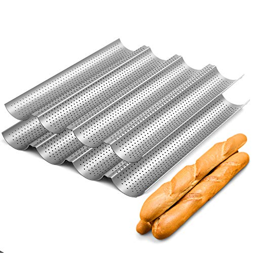 2 Pack Nonstick Perforated Baguette Pan 15quot x 13quot for French Bread Baking 4 Wave Loaves Loaf Bake Mold Oven Toaster Pan Silver