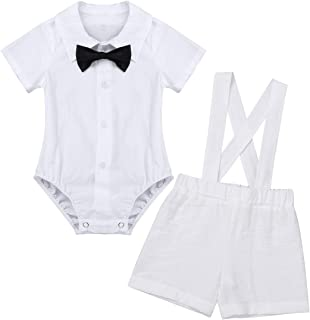 dPois Infant Baby Boys' 3Pcs Baptism Outfit Short Sleeves Bow Tie White Romper Shirt with Suspender Linen Shorts