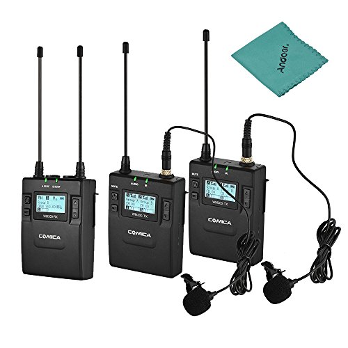 Comica CVM-WM300(A) UHF 96-Channel Wireless Microphone Receiver + Dual Lavalier Mic Transmitters System Compatible with Canon Nikon Sony D/SLR Camera XLR Camera with Cleaning Cloth
