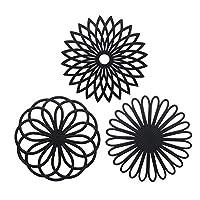 sottopentola in silicone a forma di fiore,createstar set da 3 pezzi sottopentola nero,qualità premium,isolante,flessibile,durevole,antiscivolo,pulizia facile,per tazze e sottobicchieri