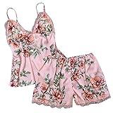 Pijama Floral Mujer Verano Bata Sexy de Talla Grande Conjunto de Ropa de Dormir Cuello V Transparente Camisola Larga con Calzoncillos Cortos Traje de Noche Vestido de Cama Dos Piezas (Rosa, L)