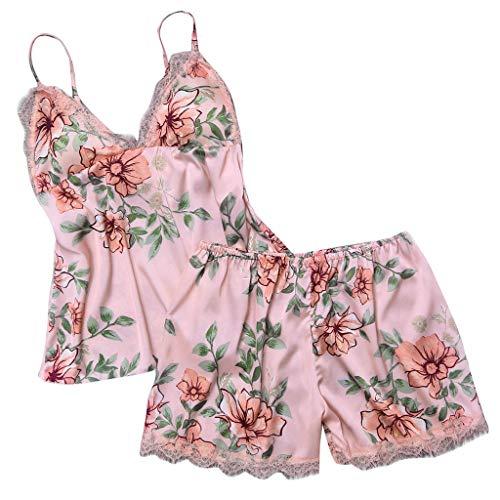 Looekveoyi Sexy Estampado Floral Camisón Lencería Satén Pijama La Costura de Las pestañas combinadas Lencería de la Ropa Interior Sexy