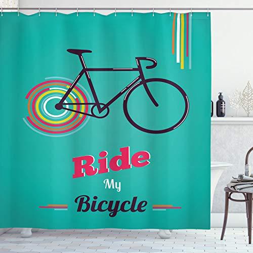 ABAKUHAUS Jahrgang Duschvorhang, Retro Fahrrad-Entwurf, Waserdichter Stoff mit 12 Haken Set Dekorativer Farbfest Bakterie Resistet, 175 x 200 cm, Teal Hot Pink Schwarz