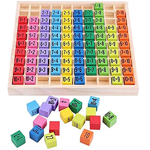 NNY Wooden Toys Hundred Board Montessori Math 10x10 Times Table Tray with...
