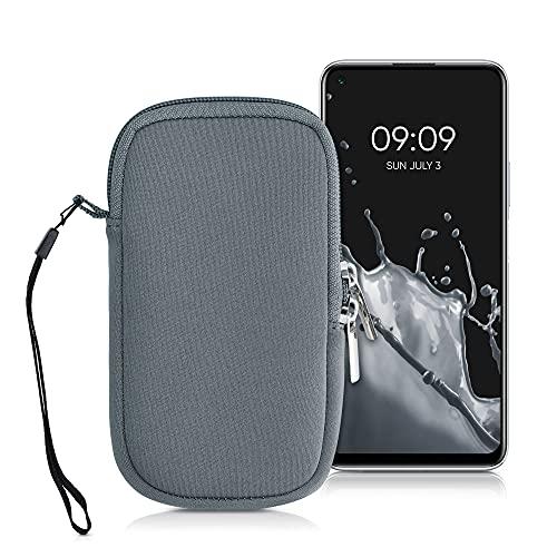 kwmobile Estuche de Neopreno Universal para Smartphone - Funda Protectora con Cremallera para M - 5,5' Gris Azulado