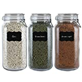 Airtight Glass Canisters with Lids 78oz Food Storage Jars Large Cereal Containers for Kitchen Canning, Cereal, Pasta, Sugar, Beans, Spice Set of 3