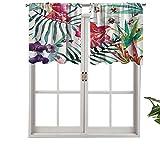 Hiiiman Cenefas de cortina con bolsillo para barra, diseño de orquídeas tropicales, con estampado de hojas de palma, 2 unidades, 42 x 24 pulgadas, aislamiento térmico para sala de estar