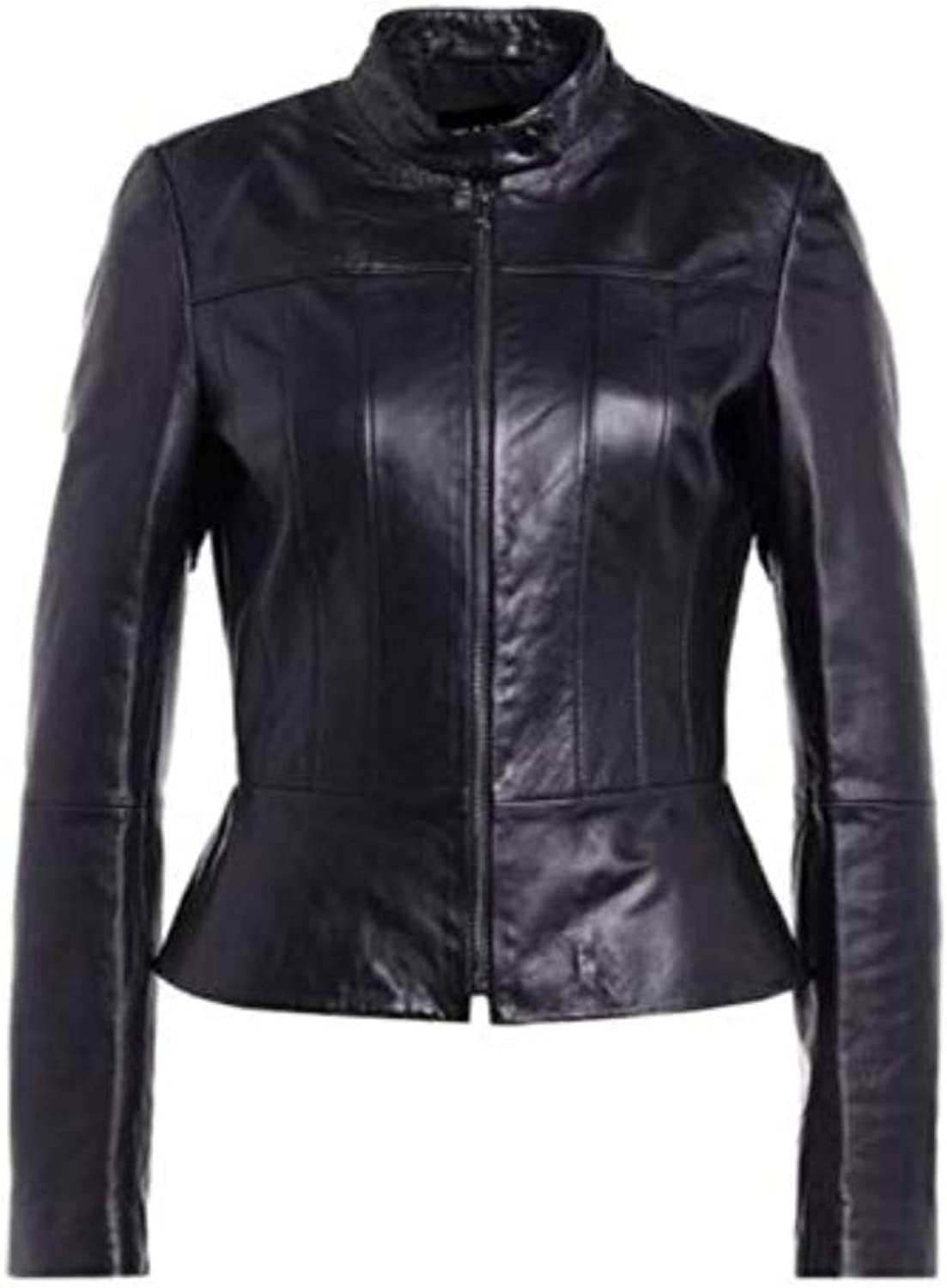 New Fashion Style Women's Leather Jackets Black C3_