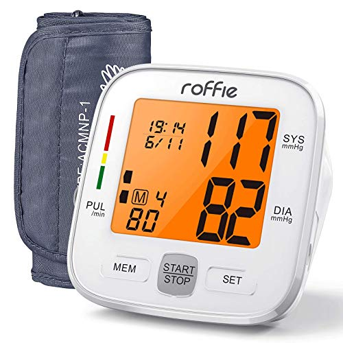 "Blood Pressure Monitor-Roffie Upper Arm Blood Pressure Machine for Home Use, BP Machine Pulse Monitoring with 8.6""-16.5""(22-42cm) Large Cuff-90 Sets Memory-Orange Backlight Display"