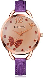 Delicate Men's Wrist Watches Women's Wrist Watches Ladies Watch Small Fresh Butterfly,Colour Name:Rose Red (Color : Purple)