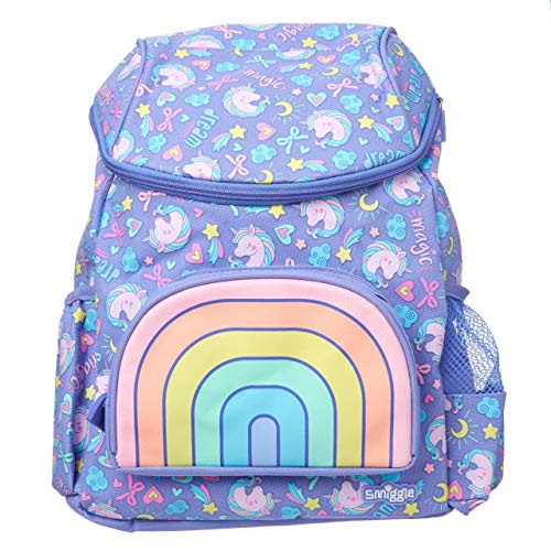 Smiggle Hoodie Character Nursery Backpack for Girls & Boys with Pull Out Unicorn Hood and Dual Drink Holders