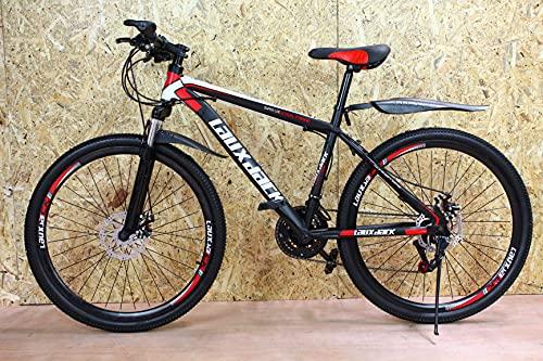 Bicicleta de montaña junior negra y roja 26 pulgadas rueda 21 velocidad marco de acero frenos de disco niños y niñas JK