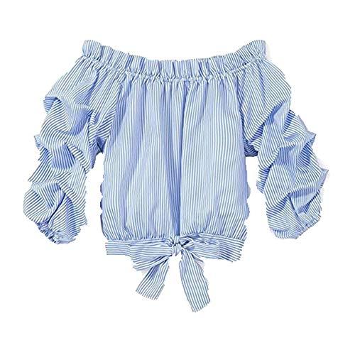 Qinngsha - Blusa de manga larga con diseño de mariposa, nudos, blusa de rayas