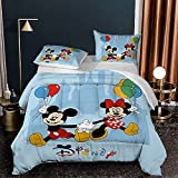 Mickey Minnie Comforter Set for Twin Bed Quilt Set Mickey Mouse Bedding Comforter Set for Kids Boys Girls Teens