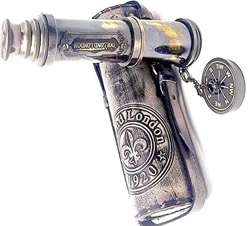 Vimal Nautical Antikes Teleskop Spyglass Nachbildung in Leder-Box, Dollond Londons Premium-Qualität, Handheld-Spionageglas, Seemanns-Dekor, ca. 45,7 cm
