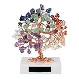JSDDE Joya Feng Shui Árbol de la vida, árbol de dinero, mármol, piedra curativa, amuleto de la suerte, árbol de chakra, piedras de tambor, árbol de la suerte, decoración para la casa o la habitación (
