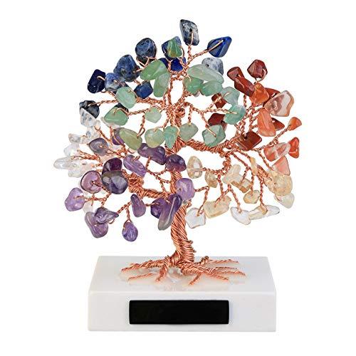 Jsdde Gioielli Feng Shui, albero della vita, base in marmo con pietra curativa portafortuna, albero Chakra, pietre portafortuna, albero portafortuna, decorazione per la casa della camera (Chakra)