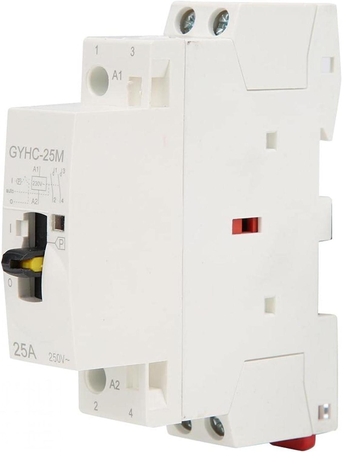 Contactor CA Silencioso Carril Din Hogar Interruptor 4 Posiciones Contactor CA con Interruptor Control Manual 2P 25A 220V 50Hz(2NO)