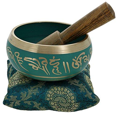 Ajuny Hermoso cuenco tibetano budista tibetano verde viene palo y cojín ideal para meditaciones y sanación sonora de 4 pulgadas